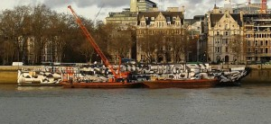 HMS President - minus her funnel ready for her journey down the Thames