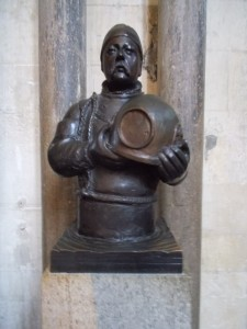 Bust of deep-sea diver, William Walker, in Winchester Cathedral